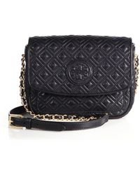 Tory Burch Marion Quilted Crossbody Bag black - Lyst