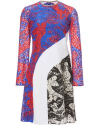 Carven Printed Lace Long Sleeve Dress - Lyst