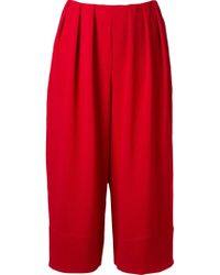 Fernanda Yamamoto - Pleated Waist Wide Cropped Trousers - Lyst