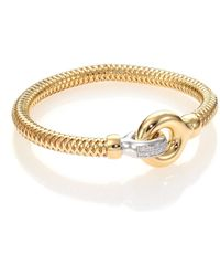 Roberto Coin Primavera Diamond, 18K White & Yellow Gold Interlock Bangle Bracelet gold - Lyst