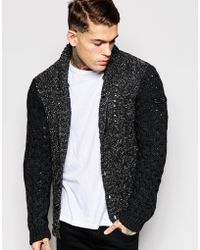Diesel K-Likita Chunky Cable Knit Cardigan With Contrast Sleeves - Lyst