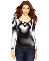 Guess Long-Sleeve Striped Lace-Up Sweater - Lyst