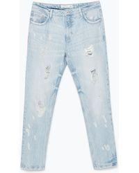 Zara Special Bleach Cigarette Jeans - Lyst