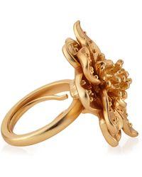 Kenneth Jay Lane - Adjustable Golden Flower Ring - Lyst