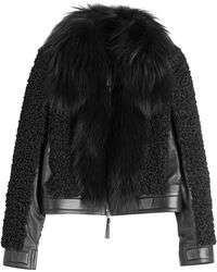 Roberto Cavalli Leather Jacket With Shearling And Fox Fur black - Lyst