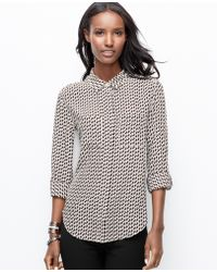 Ann Taylor Deer Print Silk Camp Shirt - Lyst