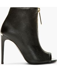 Burberry Prorsum Black Grain Leather Brooksmead Ankle Boots - Lyst