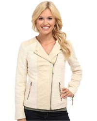 Lucky Brand Noa Mixed Leather Jacket - Lyst
