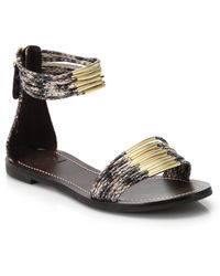 Tory Burch Mignon Metal-Banded Snake-Embossed Leather Sandals - Lyst