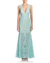 BCBGMAXAZRIA Maranda Geometric Lace Gown - Lyst