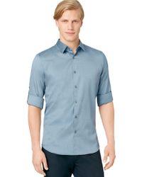 Calvin Klein Solid Roll Up Shirt - Lyst