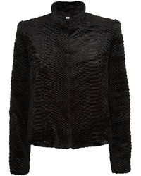 Alice + Olivia Textured Snake Faux Fur Jacket - Lyst