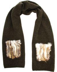 Inverni - Cashmere-merino Blend Scarf With Fox Fur Pockets - Lyst