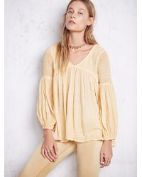 Free People Washed Gauzy Peasant Top - Lyst