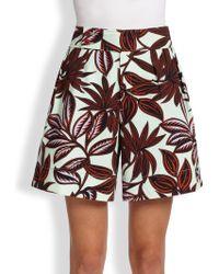 Etro Twill Palm-Print Shorts - Lyst