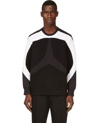 Neil Barrett Navy and Black Star Inset Sweatshirt - Lyst
