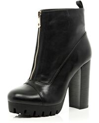 River Island Black Cleated Sole Zip Front Ankle Boots - Lyst