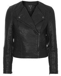 Topshop Petite Faux Leather Collarless Biker Jacket - Lyst