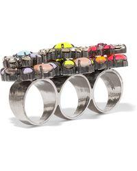 Shourouk - Tyson Embellished Gunmetal-tone Three-finger Ring - Lyst