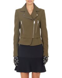 Balenciaga Bonded Crepe Biker Jacket green - Lyst