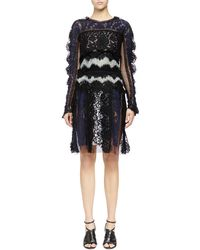 Lanvin Long-Sleeve Patchwork Lace Dress - Lyst