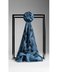 Burberry Animal Print Silk Georgette Scarf - Lyst