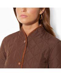 Lauren by Ralph Lauren Brown Diamondquilted Coat - Lyst