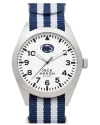 Jack Mason Brand - 'penn State Nittany Lions' Stripe Nato Strap Watch - Lyst