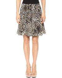 Marchesa Voyage - Leopard Flouce Skirt Natural Blurry Leopard - Lyst