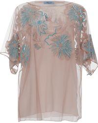 Blumarine Tulle Embroidery Bateau Blouse - Lyst