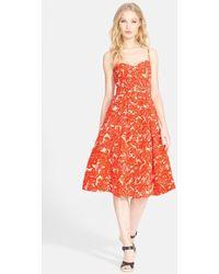Joie 'Vivany' Print Silk & Linen A-Line Midi Dress - Lyst