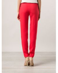 Victoria Beckham Crepe Straight Leg Trousers - Lyst