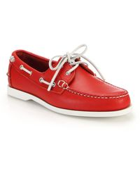 Ralph Lauren Telford Leather Boat Shoes red - Lyst