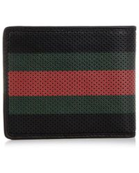 Gucci Perforated Stripe Leather Wallet - Lyst