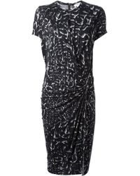Helmut Lang Strata Print Gathered Dress - Lyst