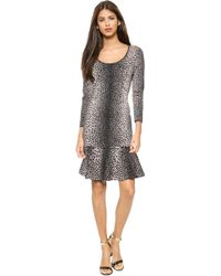 Rebecca Taylor Stretch Animal Dress  Sleek Combo - Lyst