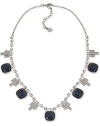 Carolee Silver-tone Deco Crystal Blue Stone Frontal Necklace - Lyst