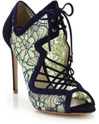 Nicholas Kirkwood Suede-Trimmed Lace Sandal Booties - Lyst