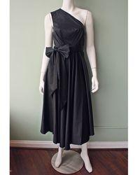 Tibi Satin Poplin Wrap Dress black - Lyst