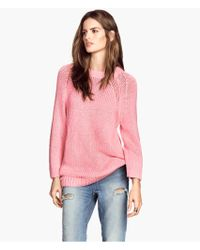 H&M Pink Knitted Jumper - Lyst