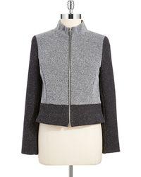 Jones New York Zip Front Tweed Blazer - Lyst