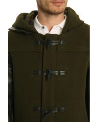 Marc By Marc Jacobs Paddington Leather-Sleeved Khaki Duffle Coat - Lyst