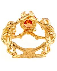 Alexander McQueen Double-Skeleton Topaz Ring - Lyst
