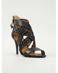 Ralph Lauren Black Label Woven Strappy Sandals - Lyst