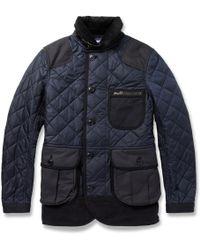 Junya Watanabe Panelled Quiltednylon Coat - Lyst
