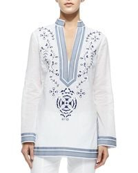 Tory Burch Tory Embroidered Tunic W Ribbon Trim - Lyst