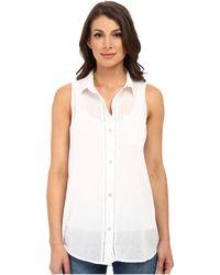 DKNY Cotton Gauze Sleeveless Boyfriend Shirt - Lyst