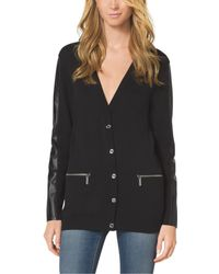 Michael Kors Leather-accented Cardigan Petite - Lyst