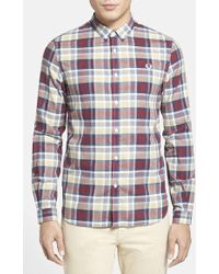 Fred Perry Extra Trim Fit Microdot Plaid Sport Shirt - Lyst