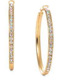 Material Girl - Goldtone Rhinestone Hoop Earrings - Lyst